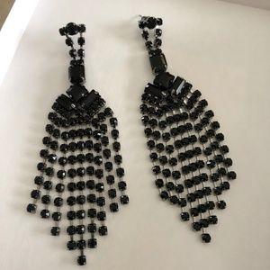 Express Black Crystal Chandelier Earrings